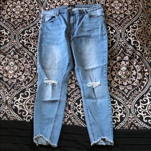 American Bazi Blue Shark Bite Skinny Jeans (EUC)